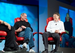 Steve Jobs chatting with Bill Gates, Author: Joi Ito from Inbamura, Japan. Source: http://www.flickr.com/photos/35034362831@N01/522695099/