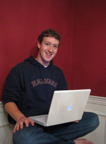 Mark Zuckerberg at his computer