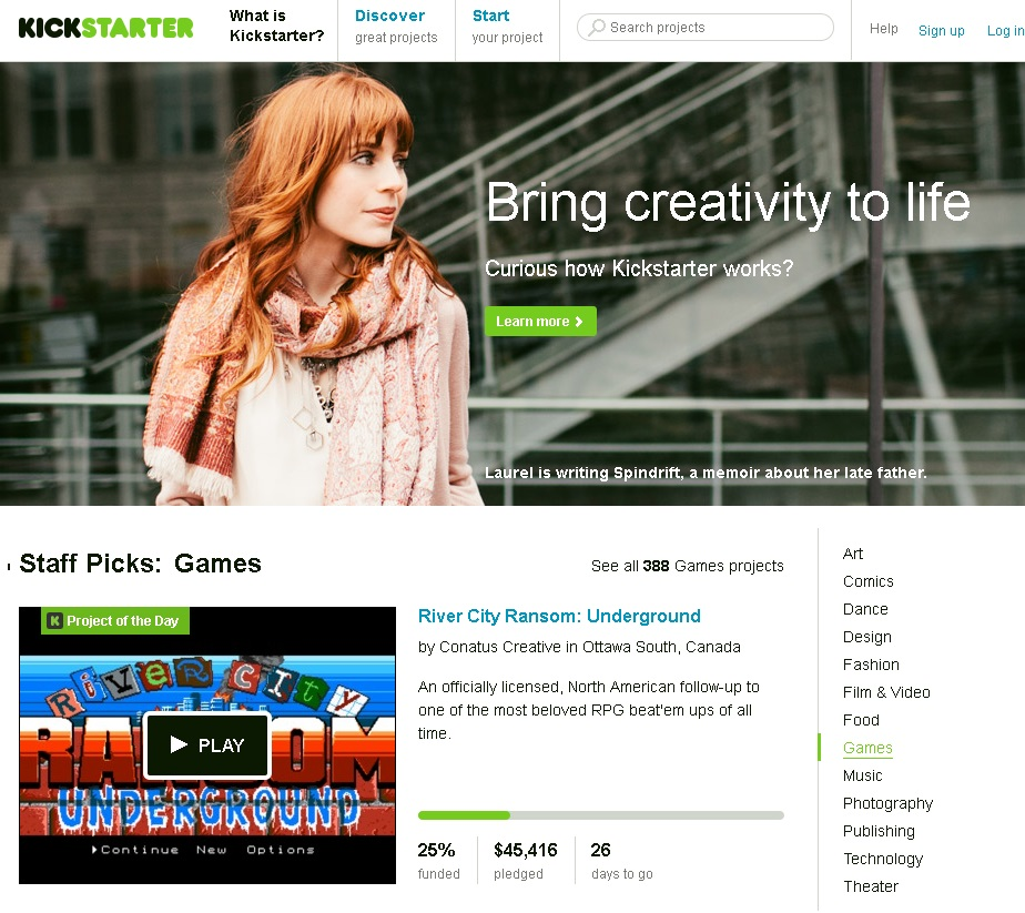 Kickstarter's Website
