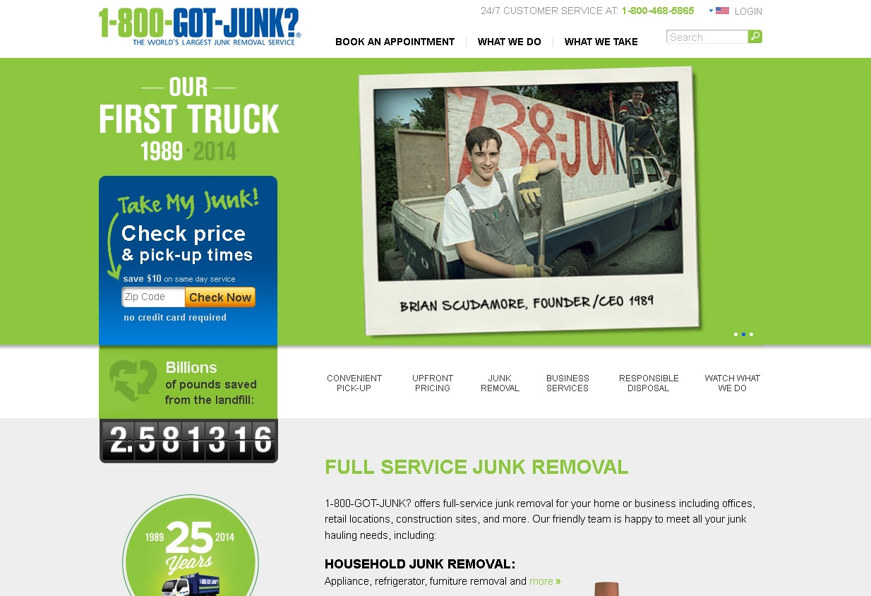 A screenshot of 1800gotjunk.com
