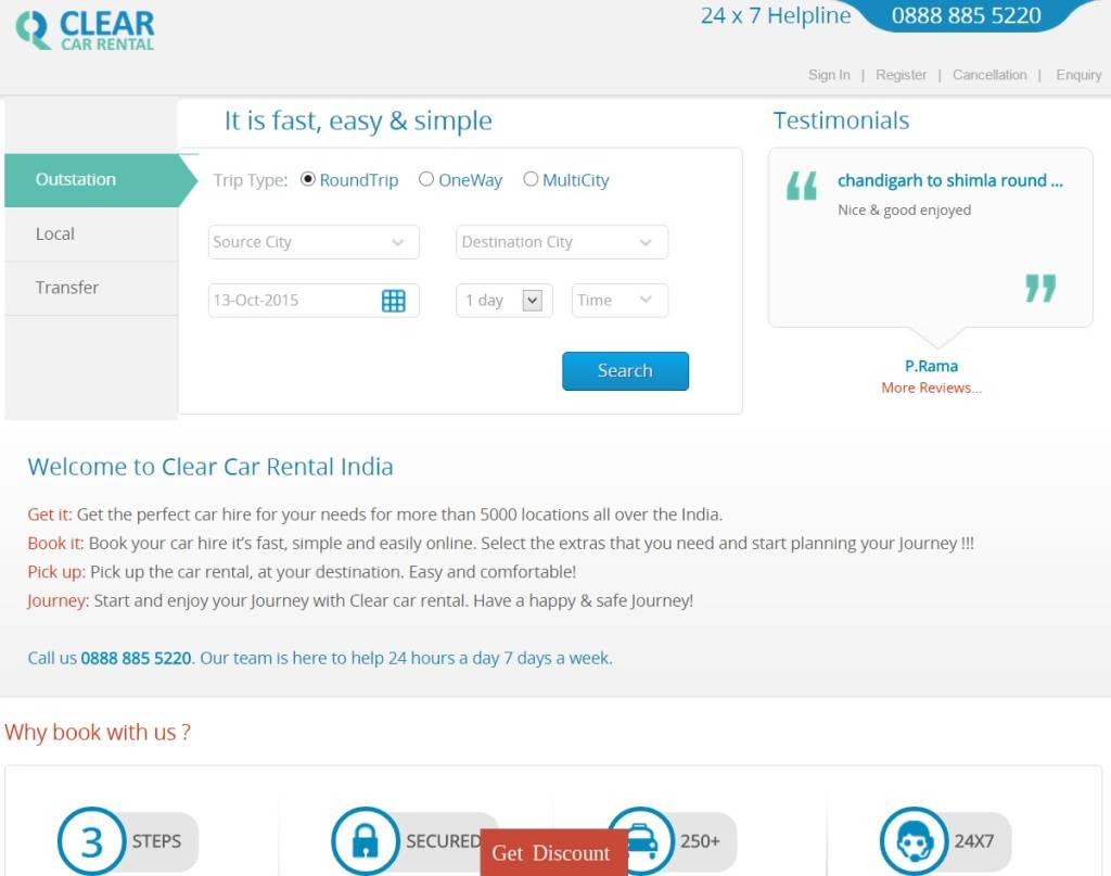 www.clearcarrental.com - this is how the site looks like (2015)