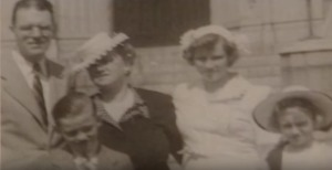 Chuck Feenly with mother, father and his two sisters.