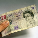 A banknote of 20 GBP